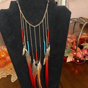 Multicolor Beaded & Feather Necklace